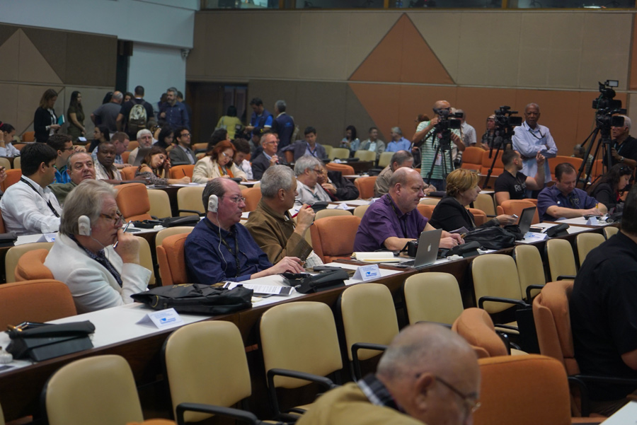 Journalists and industry professionals listen during the press conference held at Palacio de las Convenciones during the XVIII Habanos Festival