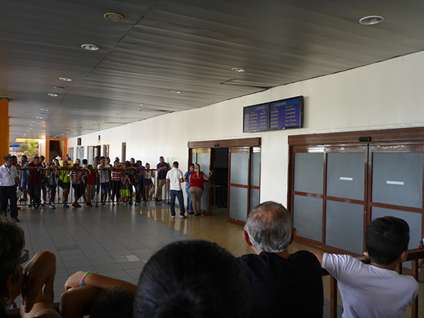 U.S. arrival area outside Terminal 2 at José Martí International Airport in Havana